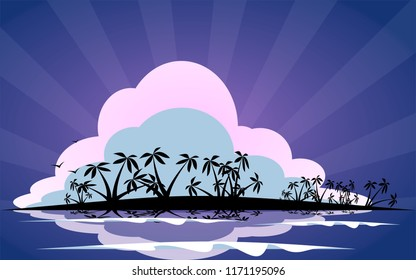 Silhouette of tropical deserted island