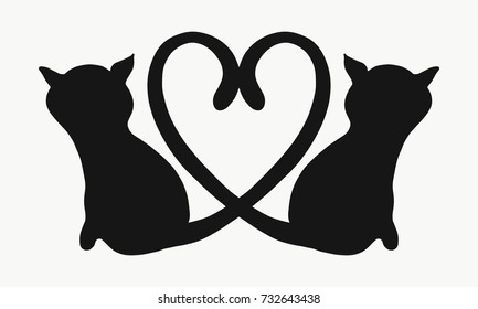 Silhouette of two cats with tails forming a heart
