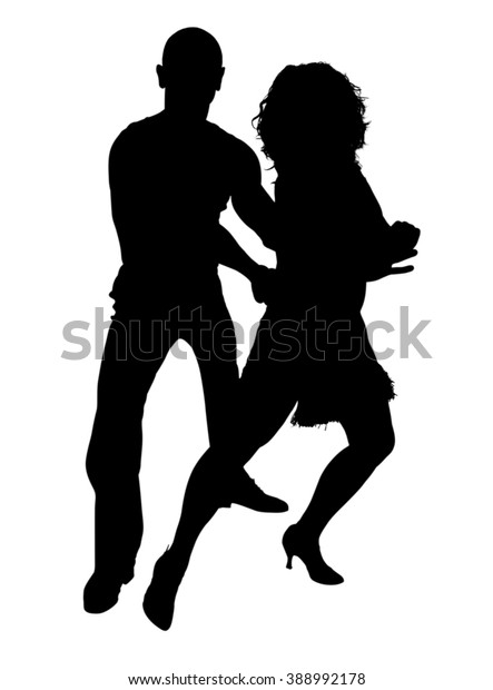Silhouette Two Dancers Pose That Typical Stock Illustration 388992178