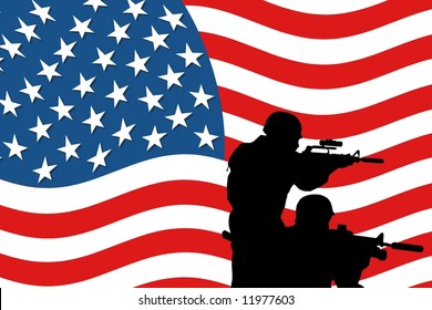silhouette of two soldiers in front of a american flag