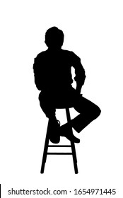 Silhouette of a Unknown Man - sitting down
