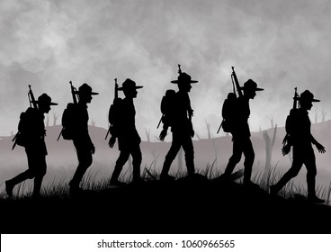 Silhouette of US soldiers on a world war one battlefield. Original illustration.