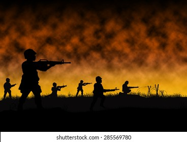 Silhouette of US soldiers in a war like scene similar to Vietnam and Indochina. Computer Illustration.