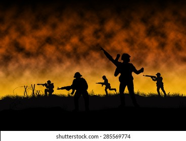 Silhouette of Viet Cong soldiers in a war like scene similar to Vietnam and Indochina.  The Viet Cong fought against the US military. Computer Illustration.