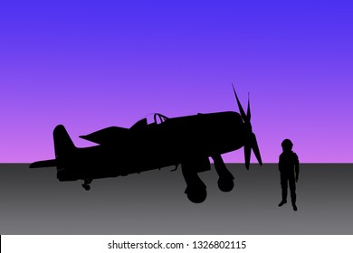 Silhouette of vintage airplane and pilot on colorful gradient background.