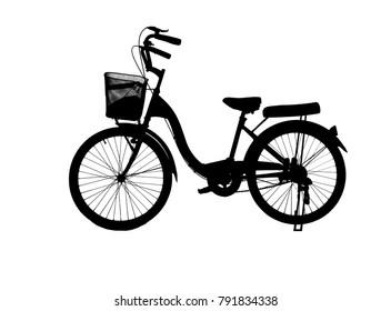 silhouette vintage bike on white background