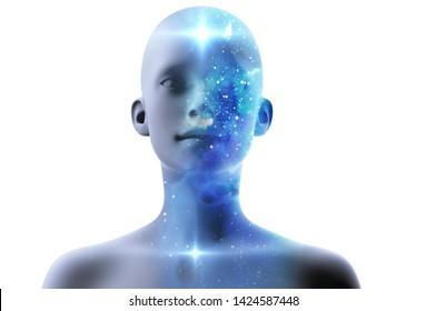 silhouette of virtual human with aura chakras on space nebula , represent meditation,yoga  and deep sleep therapy.3d illustration