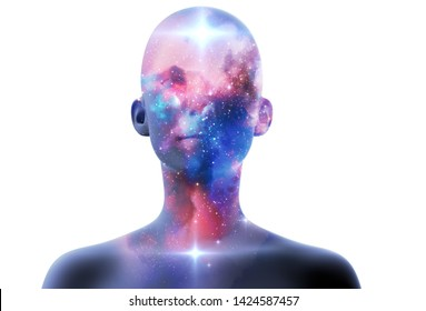 silhouette of virtual human with aura chakras on space nebula , represent meditation,yoga  and deep sleep therapy.3d illustration