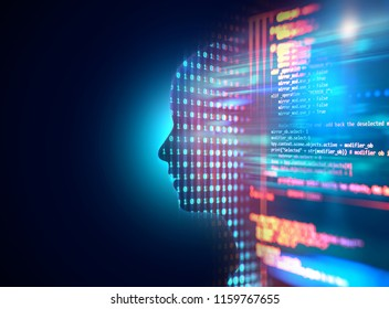 silhouette of virtual human and nebula cosmos 3d illustration  , represent scientific concept of brain 