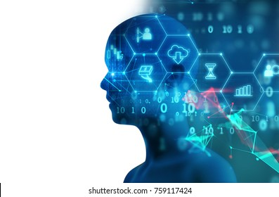 silhouette of virtual human on abstract technology 3d illustration  , represent artificial technology.