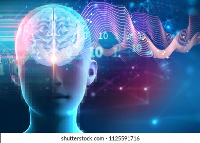 silhouette of virtual human on brain delta wave form 3d illustration  , represent meditation and deep sleep therapy.