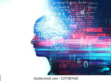 silhouette of virtual human on handwritten equations 3d illustration  , represent artificial technology and creativity education.