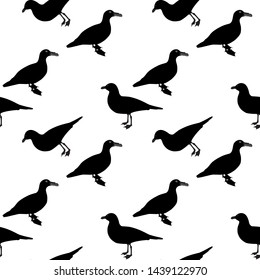 Silhouette of Water Duck on white background. Seamless Pattern.  Illustration.