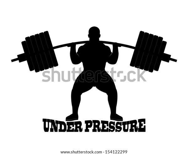 silhouette weight lifter/ under pressure theme/ illustration