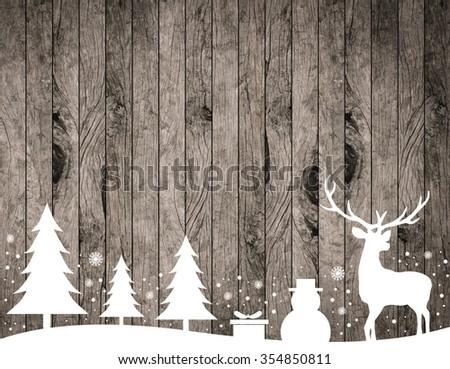 Silhouette White Reindeertreesnowmansnowflakegift On Rustic Wood Stripe Panels