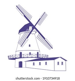 Silhouette of a windmill. Vintage drawing.