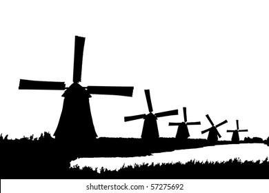 A silhouette of windmills in Kinderdijk, Holland, isolated on white background