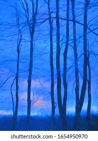 A silhouette of winter trees with a bold midnight blue background.