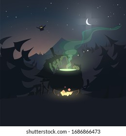 Silhouette of a witch who is cooking a potion in a cauldron. In cartoon style.