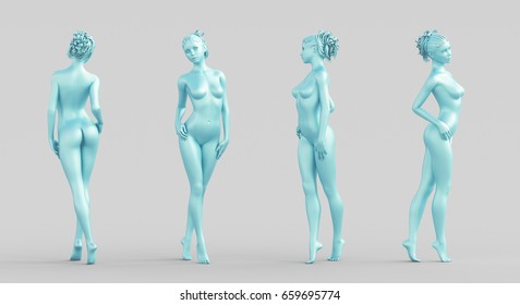 Silhouette woman, body, naked, 3d render