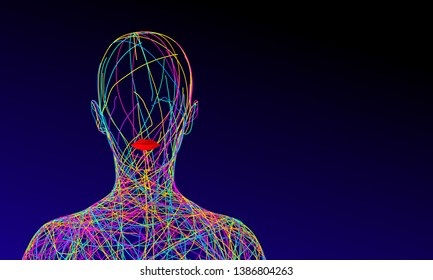 Silhouette Of Woman Consisting Of Tangled Golden Wires On Pink Background. 3D Illustration.