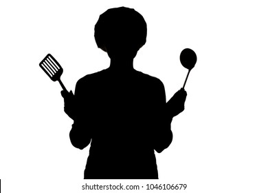 silhouette of woman cooking in a cap, profile of a girl trying to taste the soup on the salt from a spoon on a white isolated background, concept profession and homework duties of the wife