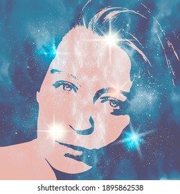 Silhouette of woman head. Scientific medical design. Double exposure. Universe filled with stars.