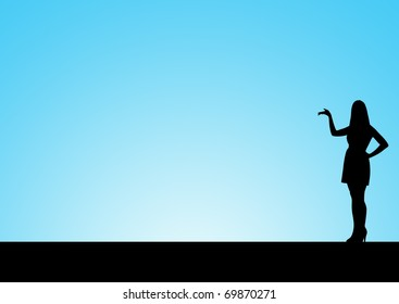 Silhouette of woman presenting something, with space for text.