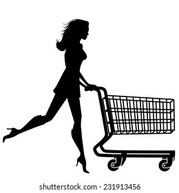 Silhouette woman with a shopping cart