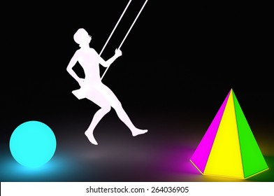 Silhouette of a woman swinging between two lamp of colored lights. 3d illustration