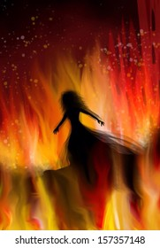 Silhouette of a woman wearing sheer dress surrounded by flames and a burning house, conjuring images melodramatic romances.
