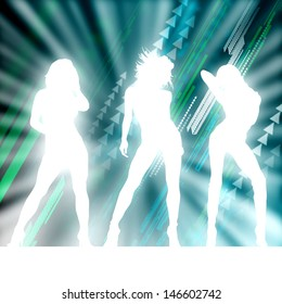 Silhouette of women against abstract background