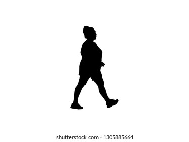 silhouette  women fat walk exercise for Health At area Stadium Outdoors.