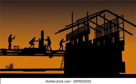 Silhouette of worker builder working on  structure on construction site.3d rendering