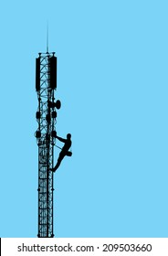Silhouette of worker climbing on mobile telecommunication tower
