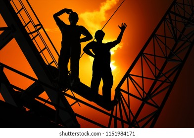 Silhouette of the worker on a background of the sky ,3d render