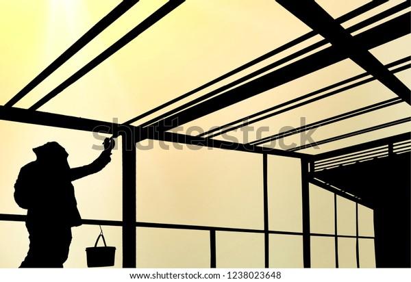 Silhouette Worker Painting Enamel Coloring Steel Stock ...