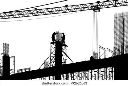Silhouette of worker working on New bridge construction on white background.