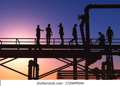 Silhouette of the workers on a background of the sky ,3d render