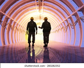 Silhouette of workers in the tunnels.