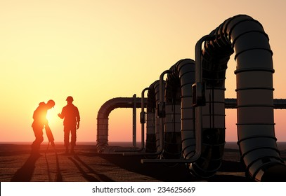 Silhouette of working on the pipe.