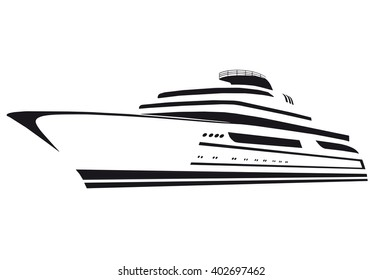 Silhouette of the yacht.