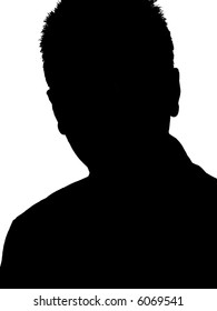 A silhouette of a young adult man isolated on a white background.