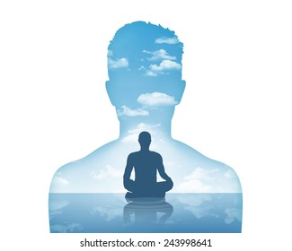 silhouette of a young man's portrait showing his inner world as a beautiful water and air landscape and him meditating in peace