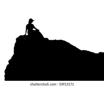 silhouette  young woman  hill black