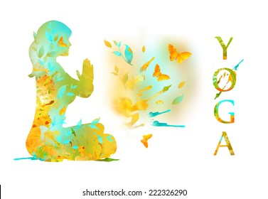 Silhouette of Young Woman Practicing Yoga In the Lotus Position, her Hands in Namaste prayer mudra. Illustration from watercolor stains  isolated on a white background. Healthy Lifestyle Concept