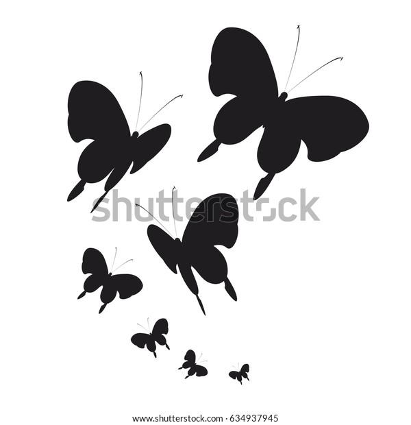 silhouette,beautiful butterflies, isolated on a white