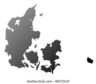 Silhouetted map of Denmark, isolated on white background.