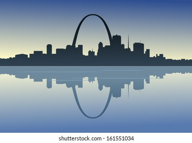 A silhouetted view of downtown St. Louis, Missouri.