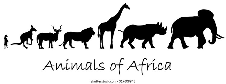 Silhouettes of animals of Africa: meerkat, kangaroo, kudu antelope, lion, giraffe, rhino, elephant isolated on white